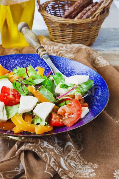 salad with mozzarella cheese Stock photo © saharosa