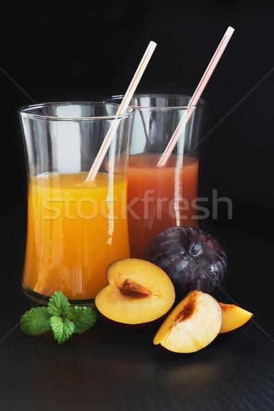 Erik meyve suyu cam taze olgun erik Stok fotoğraf © saharosa