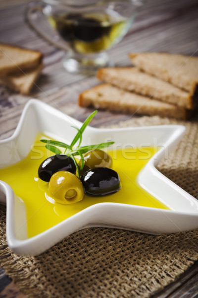 olive oil and olives Stock photo © saharosa