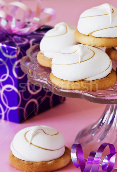 Photo stock: Cookies · rose · sweet · table · confiserie