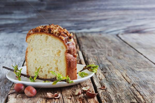 кусок Пасху торт пластина праздников Сток-фото © saharosa