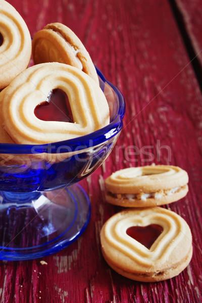 Stockfoto: Heerlijk · zoete · Valentijn · cookies · glas · kom