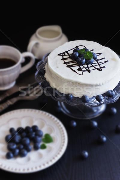 Stok fotoğraf: Kek · beyaz · taze · yaban · mersini · karanlık · festivaller