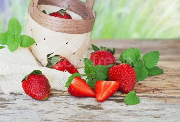 ripe strawberries in a basket Stock photo © saharosa