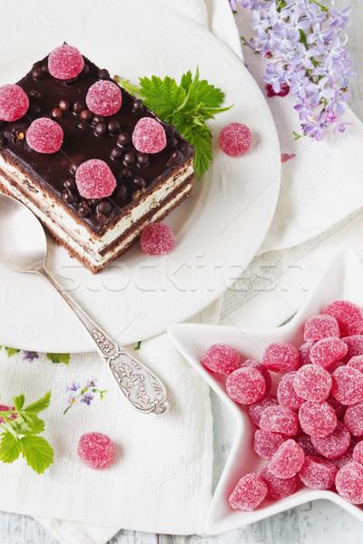 Kek ahududu şeker Stok fotoğraf © saharosa