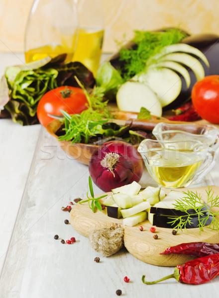 Hozzávalók saláta aprított vitamin zöld olaj Stock fotó © saharosa