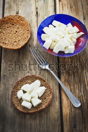 Mozzarella queso tazón edad Foto stock © saharosa