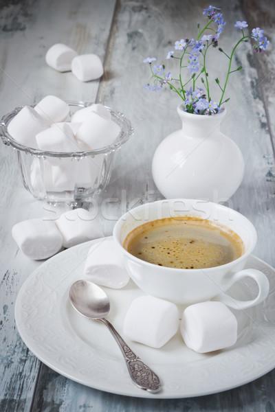 Café taza pequeño ramo azul flores Foto stock © saharosa