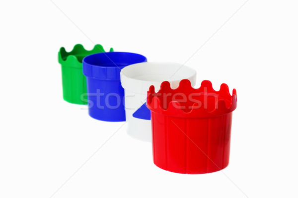 children multicolor plastic buckets Stock photo © saharosa