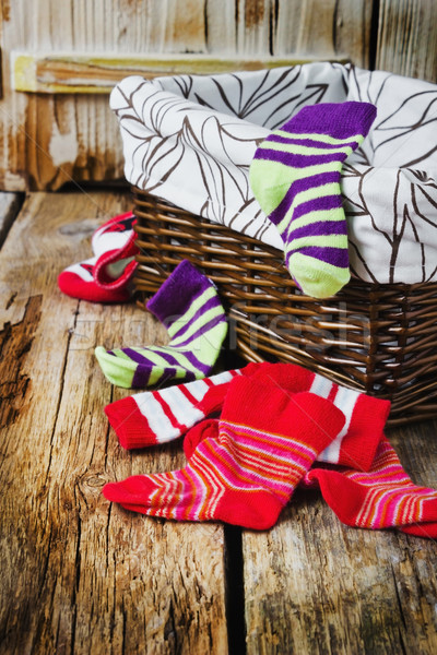 scattered children's striped socks  Stock photo © saharosa