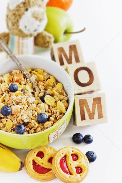 Kahvaltı granola karpuzu meyve bisküvi yaratıcı Stok fotoğraf © saharosa