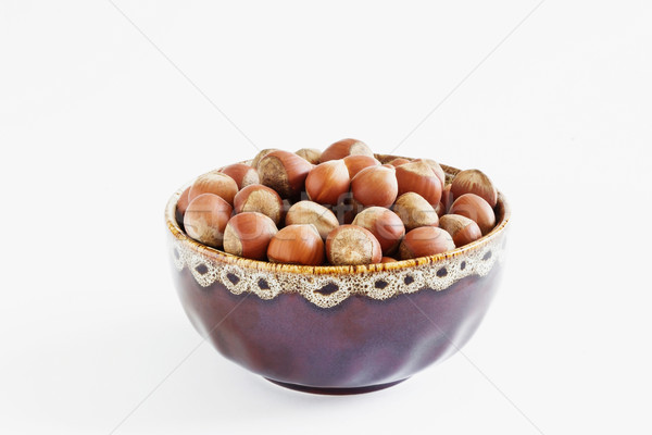Hazelnoten kom witte dieet voedsel natuur Stockfoto © saharosa
