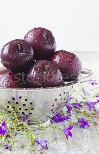 ripe plums in a colander Stock photo © saharosa