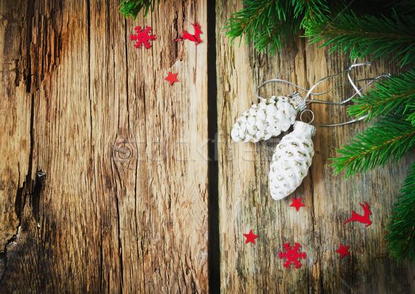 Noel cam küçük süsler form koni Stok fotoğraf © saharosa