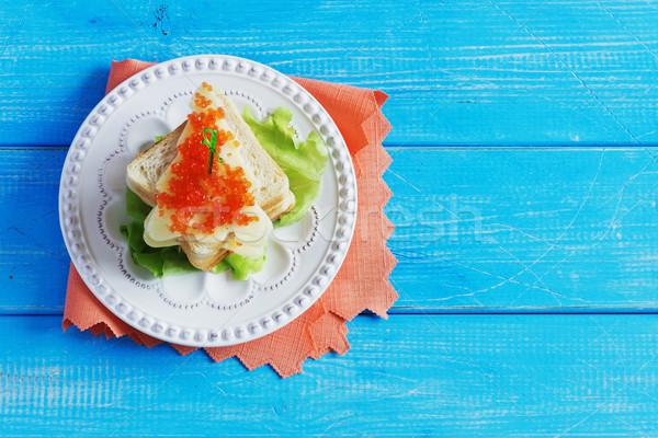 Natale panini formaggio rosso caviale forma Foto d'archivio © saharosa
