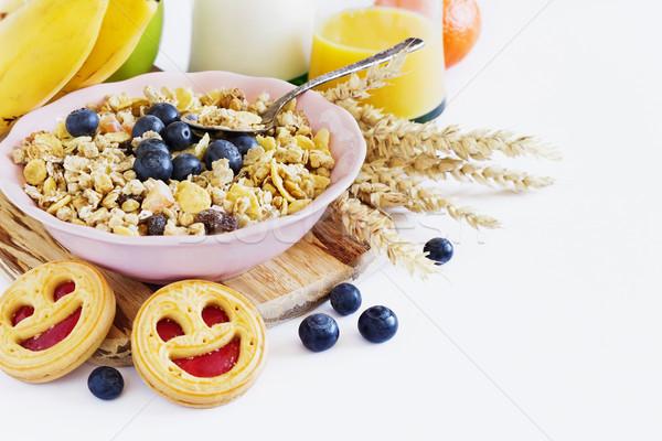 Сток-фото: мюсли · фрукты · Ягоды · белый · продовольствие · стекла