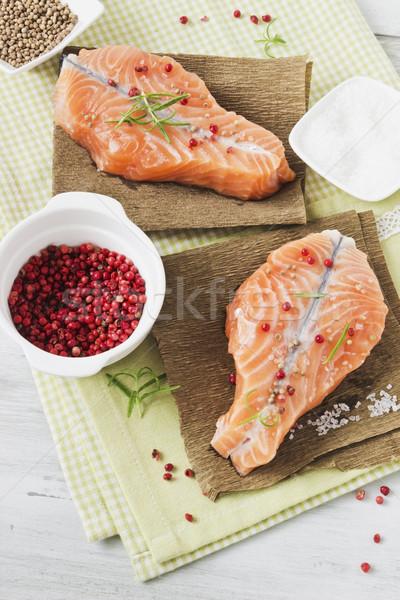 Gekookt zalm filet plaat focus gezondheid Stockfoto © saharosa
