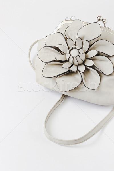 Damas bolso gris grande flor blanco Foto stock © saharosa