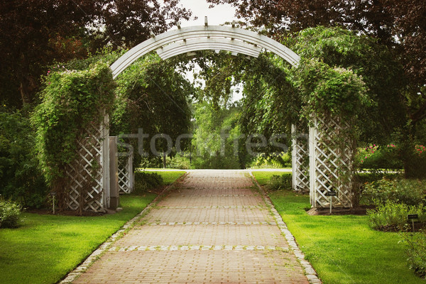 Stock fotó: Nyár · város · park · fából · készült · ív · bejárat