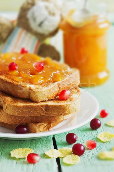 Przydatny dzieci śniadanie toast jam owoce Zdjęcia stock © saharosa