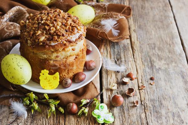 Húsvét torta ünnep díszítések fából készült ünnepek Stock fotó © saharosa