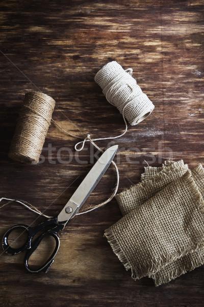 öreg méretre szab olló készlet varr fából készült Stock fotó © saharosa