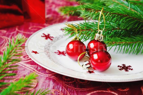 Rojo Navidad pequeño placa vacaciones Foto stock © saharosa