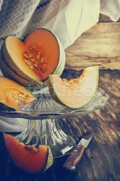 Rijp meloen oude houten tafel gezondheid Stockfoto © saharosa