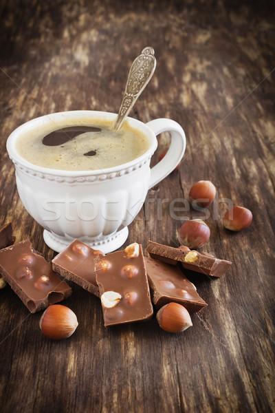 Beker koffie chocolade vers hazelnoot oude Stockfoto © saharosa