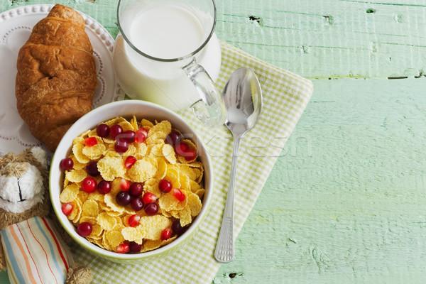 bowl of cornflakes and berries Stock photo © saharosa