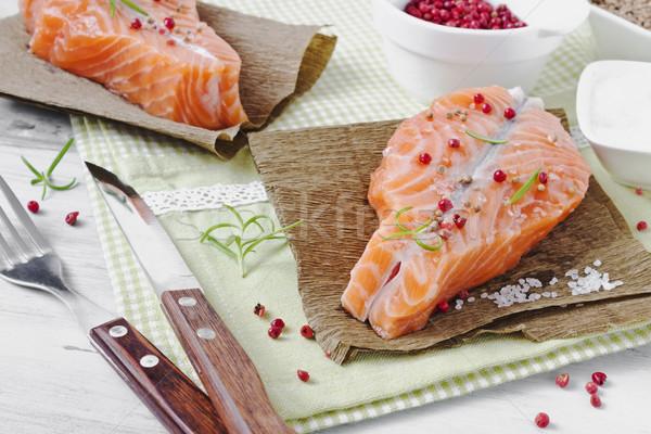 食事の ディナー 調理済みの 鮭 フィレット プレート ストックフォト © saharosa