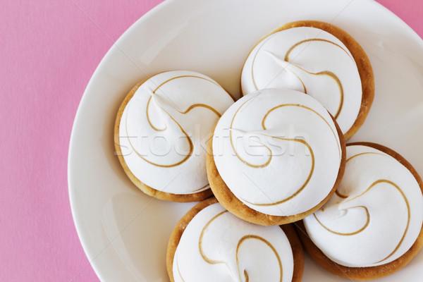 Malvavisco cookies placa rosa dulce mesa Foto stock © saharosa