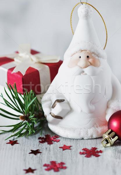 Dekoratív mikulás karácsony játékok fehér fából készült Stock fotó © saharosa