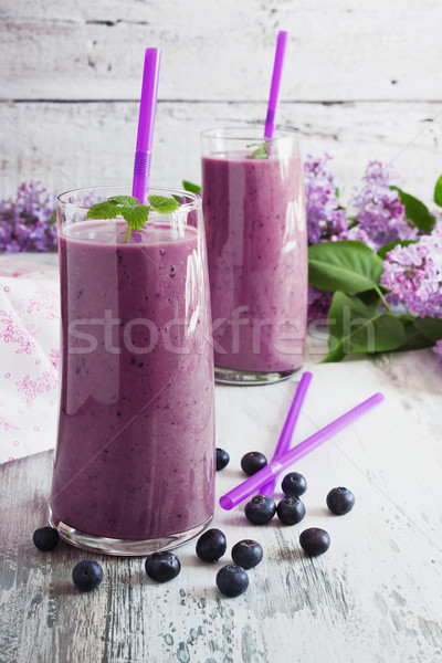 fresh smoothie with blueberries Stock photo © saharosa