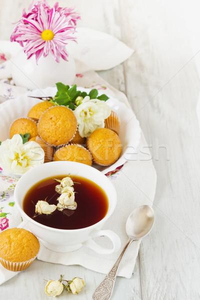 Zoete ontbijt beker vers bloem thee Stockfoto © saharosa