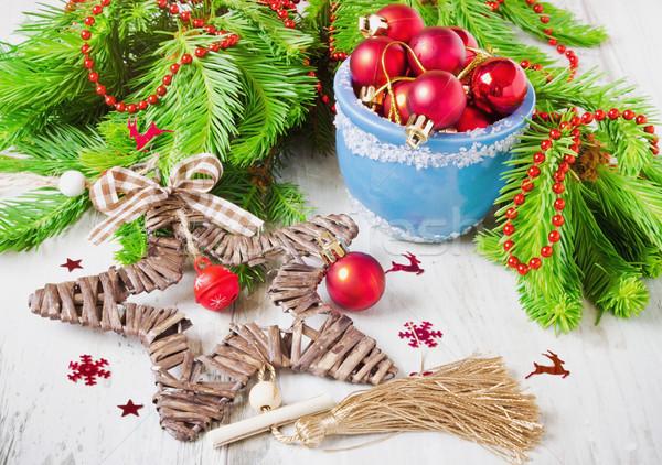 christmas star and christmas balls Stock photo © saharosa