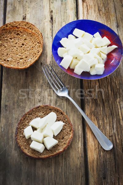 Mozzarella peynir ekmek eski ahşap Stok fotoğraf © saharosa