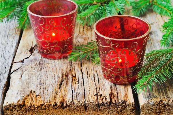 Noel mumlar güzel gözlük eski ahşap Stok fotoğraf © saharosa