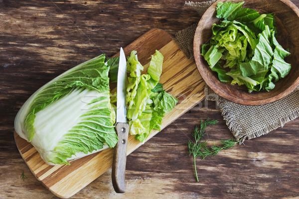 Çin lahana salata pişirme eski ahşap Stok fotoğraf © saharosa