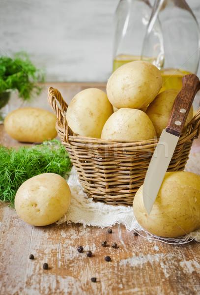 Patates sepet taze gıda yaprak yeşil Stok fotoğraf © saharosa