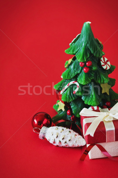 Christmas martwa natura szkatułce Świeca formularza choinka Zdjęcia stock © saharosa