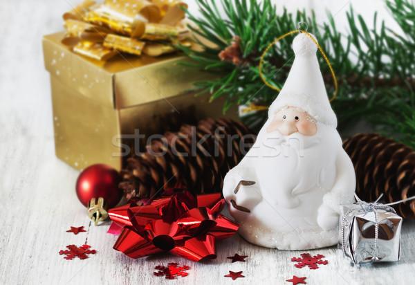 декоративный Дед Мороз Рождества игрушками белый Сток-фото © saharosa