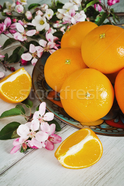 Maturo arance bella piatto fioritura ramo Foto d'archivio © saharosa
