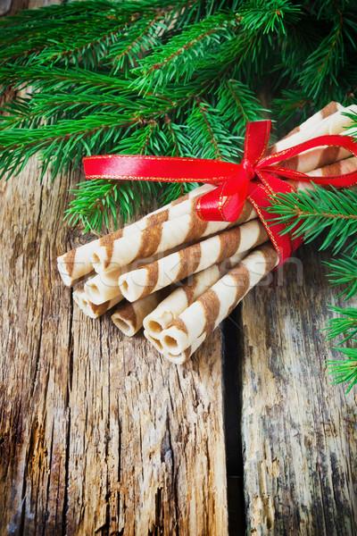 полосатый Рождества Cookies долго лента старые Сток-фото © saharosa
