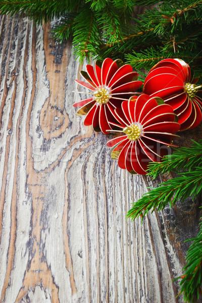 Christmas decoratie donkere houten Stockfoto © saharosa