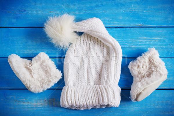 Tél baba ruházat kalap szőr csizma Stock fotó © saharosa