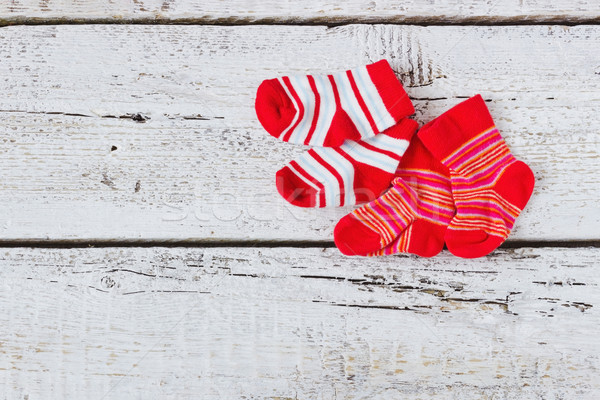 baby red striped socks Stock photo © saharosa