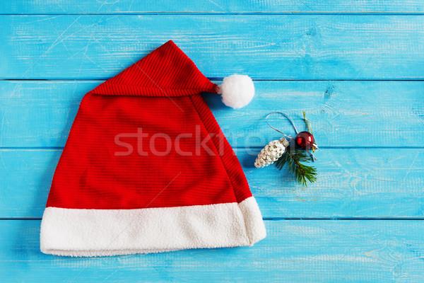 Christmas cap decoraties Blauw houten ideeën Stockfoto © saharosa