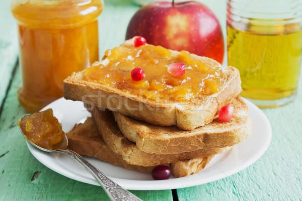 Yararlı çocuklar kahvaltı tost reçel meyve Stok fotoğraf © saharosa