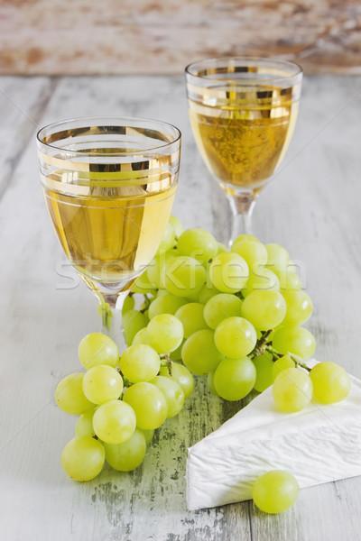Druif wijn traditioneel keuken wijnglas brie Stockfoto © saharosa